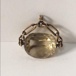 Vintage 9K Gold UK Gemstone Spinner Fob Pendant